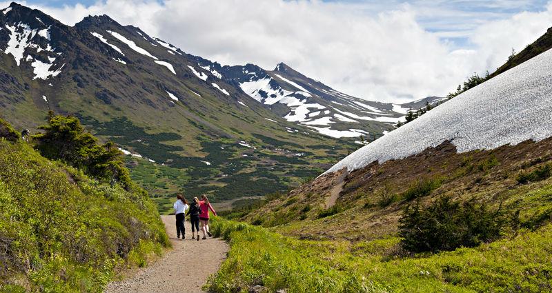 Walking trail from Flattop Mountain near Anchorage, Alaska